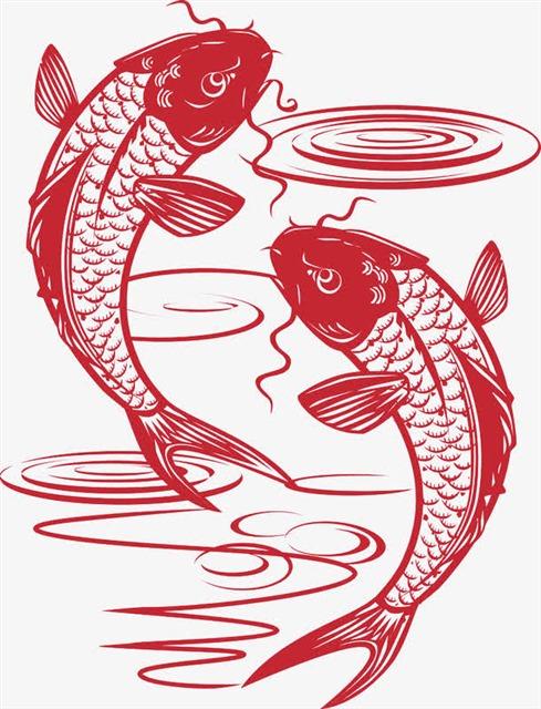 手绘剪纸风金鱼戏水
