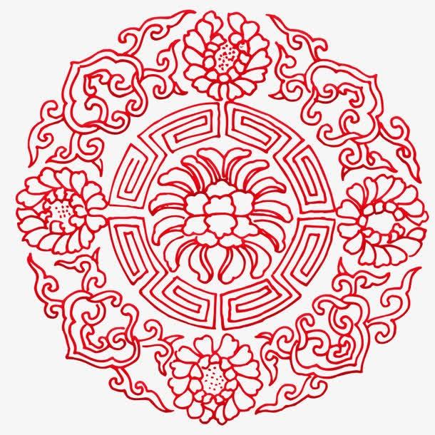 红色中国风镂空古典花纹