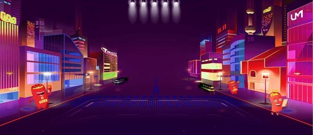 炫彩霓虹展台背景