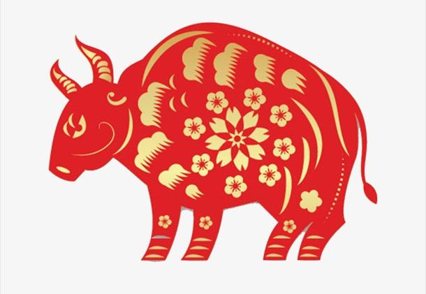 红色牛形象窗花剪纸