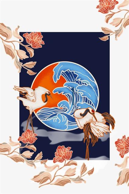 手绘国潮仙鹤素材