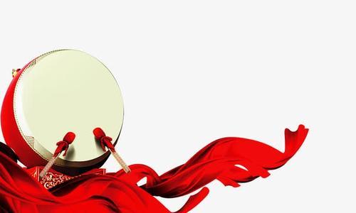 红绸带打鼓节日装饰矢量图