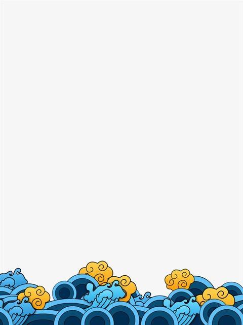 蓝色手绘浪花装饰