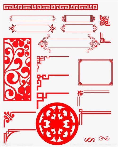红色剪纸风花纹边框