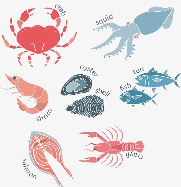 手绘海鲜图画