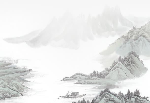 灰色水墨画山水