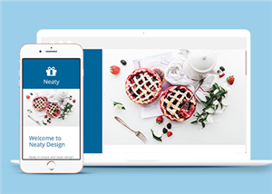 蓝色左栏响应式美食网站模板