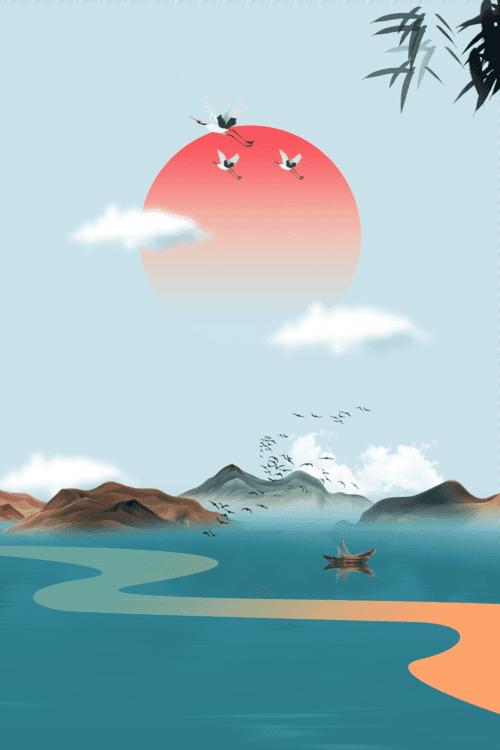 古风仙鹤山水背景