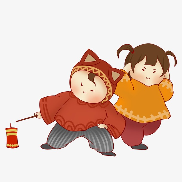 卡通新年小孩放鞭炮插画