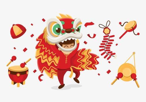 新年舞狮敲锣打鼓插画元素