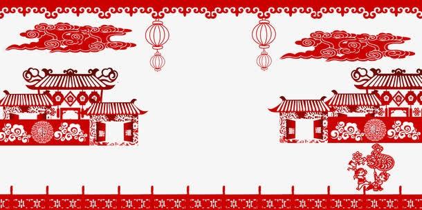 红色剪纸风装饰边框