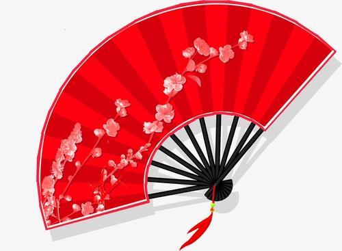 红色梅花扇子