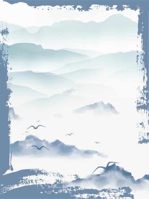 蓝色古风水墨边框