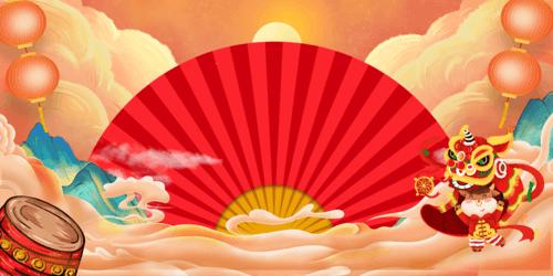 牛年春节吉祥元素海报背景