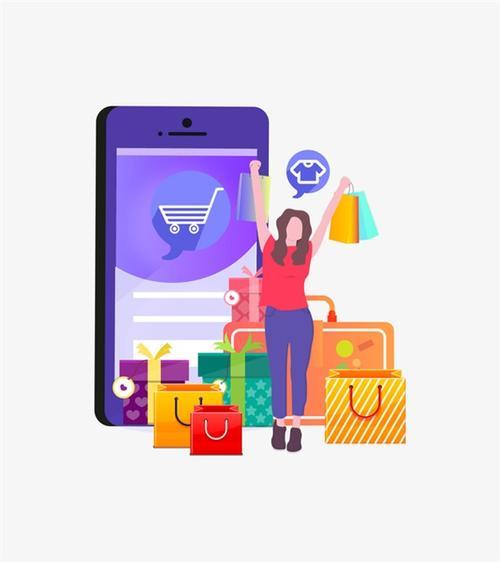 扁平化手机购物电商插画