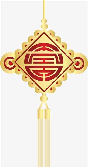 金色新年中国结挂件