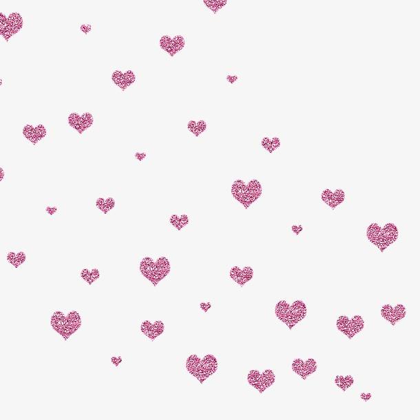 手绘紫色爱心漂浮元素