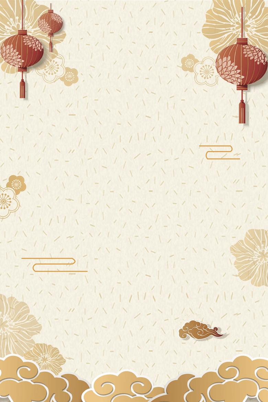 春节新年灯笼花朵背景图