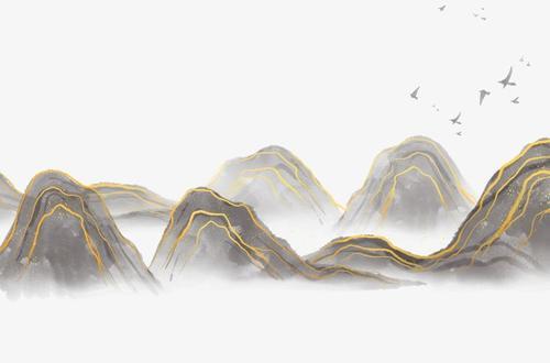 烫金线条山水画