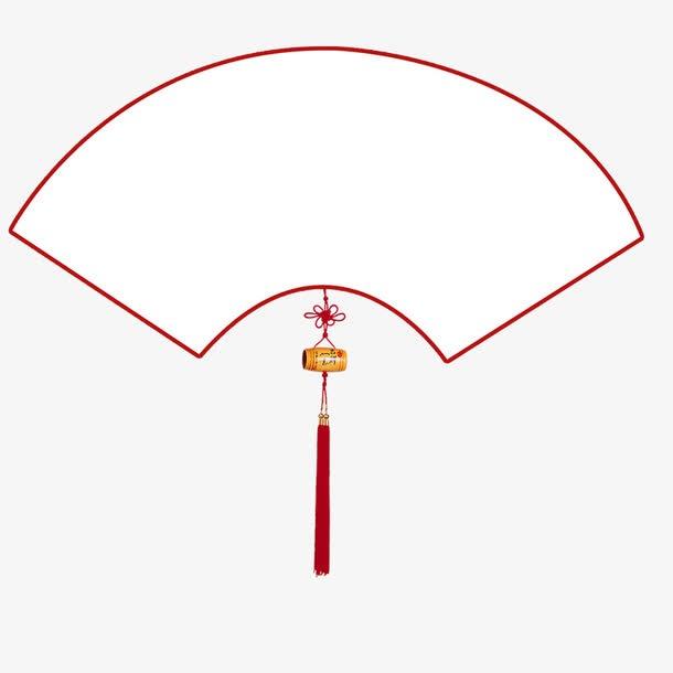 中国风红色扇子边框