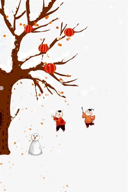 冬日雪景卡通画