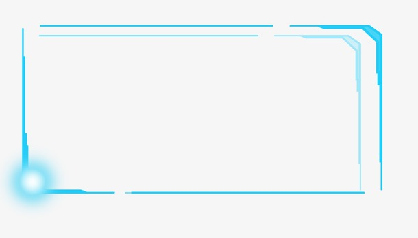 蓝色矩形科技感边框设计