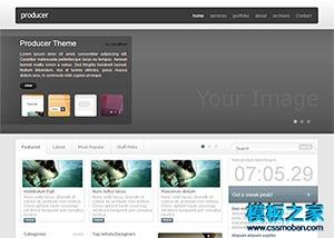 灰色宽屏商务企业网站模板