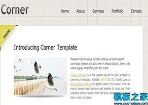 五个不同部分单页网站模板