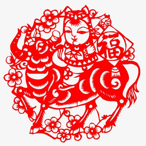 中式剪纸牛年画装饰