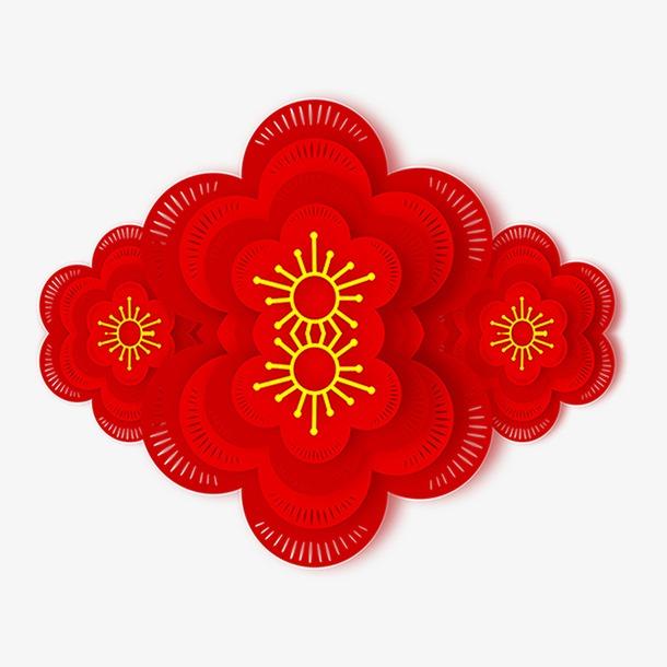 红色新年花朵