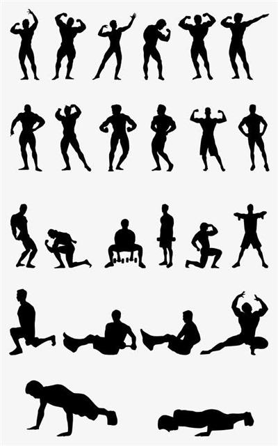 人物健身剪影图标