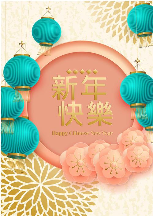 灯笼装饰新年快乐海报