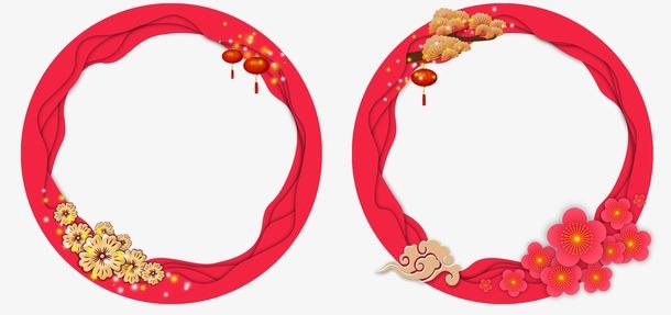 红色中国风圆形边框
