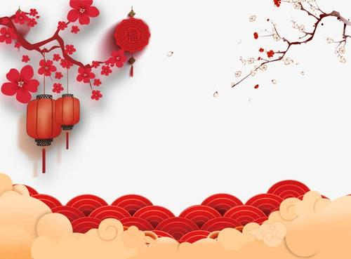 祥云梅花灯笼新年背景