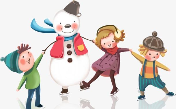 冬天雪人卡通人物元素图