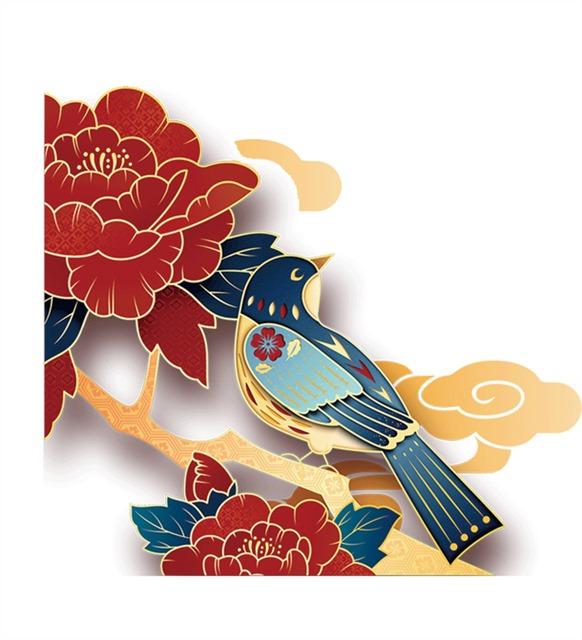刺绣金边花鸟牡丹