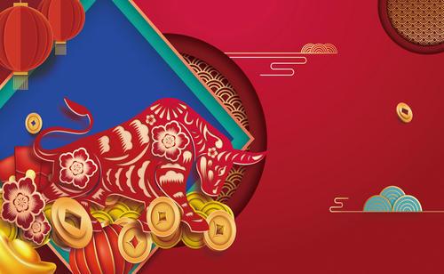 手绘剪纸牛元宝春节海报背景