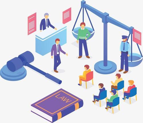 扁平化法院审理案件插画