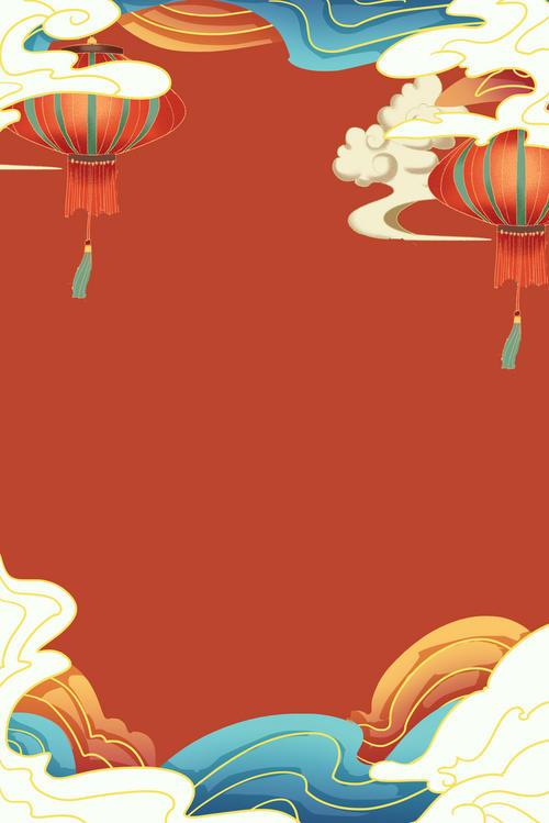 手绘国潮新春牛年背景图