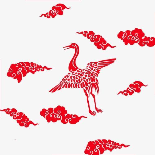 红色祥云仙鹤