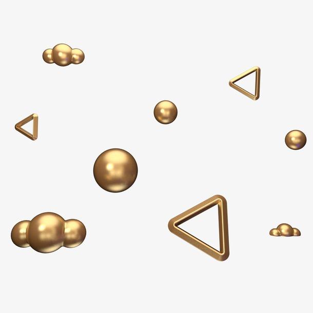 C4D立体漂浮金色球