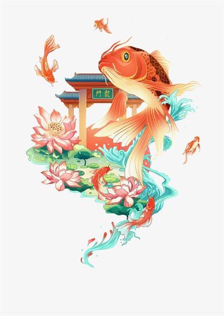 鲤鱼跳龙门国潮图案