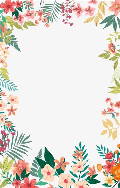 手绘清新花卉边框