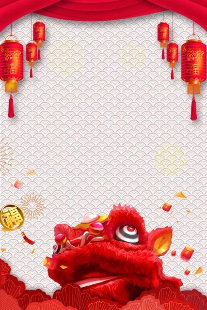 红色新年舞狮背景图