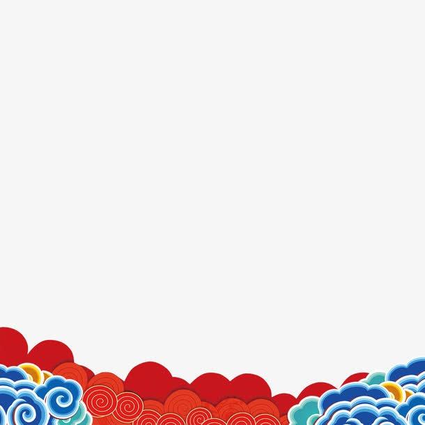 国潮云纹边框
