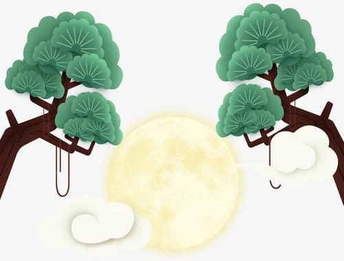 明月树枝背景装饰图片