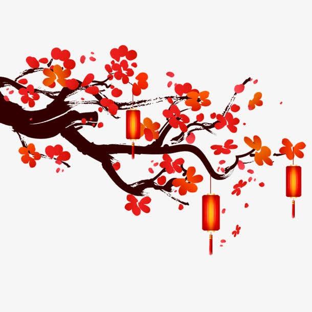 手绘梅花灯笼装饰元素