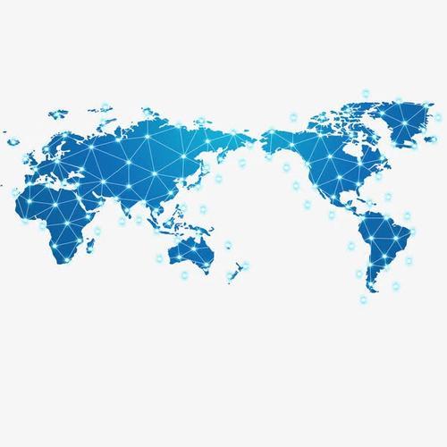 蓝色科技感世界地图