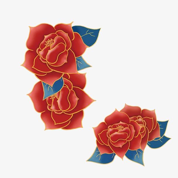 国潮牡丹花装饰图案元素