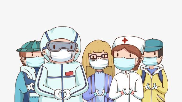战胜疫情卡通插画